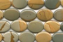 Semi-precious gemstones / A board to help identify the types of stones used in Foofaraw Shawlsticks.