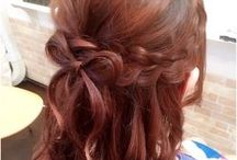 Hair Arrangements * / Cute ways to style hair ー most involving braiding and twisting the hair and fashioning with a ribbon. I want to make the most of my shorter hair while growing it out, without damaging it with heat styling tools.