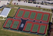 Commerical Tennis Courts / Various municipal, club and school tennis courts in various colors, surfaces and designs.