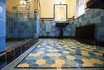 Art Deco Tile / Celebrating bright, colorful Art Deco bathroom tile.