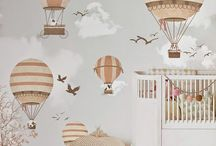 Blueberry Adventure / A cheerful, chalky coloured animal adventure-themed baby nursery. Leather touches, raw wood, woodland animals and old school flight hats