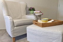 Jane's Summer Slipcovers / A tailored fit with a casual, summer look was Jane's vision for her pair of wingback chairs and ottomans. Voila! A cotton linen slipcover makeover with natural linen detail.