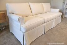 Sherry's Sofa & Chair Slipcovers / Sherry's 15 year old Ethan Allen sofa and chair were still going strong but needed a slipcover makeover. I used Carr-Go Canvas, a medium weight sanded cotton fabric that worked well for these casual, tailored pieces.