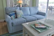 Cindy's Blue Sofa Slipcover / A sofa slipcover in the perfect shade of blue, just right for Cindy's cottage by the lake. Custom made with cotton twill from Calico Corners. So pretty!