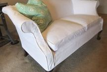 Patt's White Denim Slipcovers / Nothing like white denim slipcovers to update this vintage sofa and French chair. Clean, simple styling. Casual comfort.