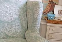 Holly's Coral Print Slipcover / Outdated plaid and cat clawed arms, this Ethan Allen wing back was ready for a slipcover makeover. A floating coral print in soft aqua green combined with a tailored fit did the job. Lovely!