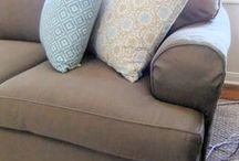 Megan's Dog Friendly Slipcovers / Megan has 4 dogs! They love lounging on her sofa and love seat. Keeping the upholstery clean was becoming a loosing battle. Slipcovers to the rescue! I used good quality, heavyweight denim for durability and frequent washing.