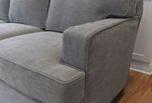 Susie's Tweed Sofa Slipcover / A custom-made slipcover for a Harding sofa in Pottery Barn Performance Tweed.