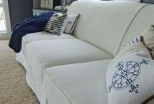 Peggy's White Denim Slipcover / This washed white denim slipcover transformed my customer's Art Van Scarlett Sofa from formal to cottage-y. A relaxed, comfy slipcover for summer and all year long.