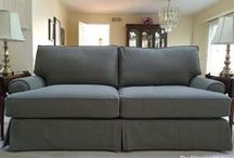 Ellen's Denim Slipcovers / Washed 12 oz. denim in gorgeous Loden Green makes beautiful, durable slipcovers for a worn & loved Quatrine sofa and love seat.