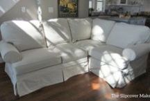 Kitty's Canvas Sectional Slipcover / Slipcover fabric doesn't have to cost a fortune. Go with an old-school classic like this #12 weight natural duck cloth from Big Duck Canvas. Versatile, protective and super affordable.
