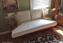 Bonnie's Settee Slipcovers / These custom cushion covers have the look of Matelasse but were actually made with a quilted coverlet.