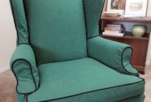 Barb's Green Canvas Slipcovers / Vibrant green canvas slipcovers gave my customer's family room furniture a brand new look.