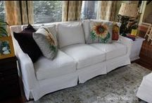Lynda's Natural Denim Slipcovers / Lynda's 11 year old Thomasville Felicity sofa, chair and ottoman look brand new with these natural denim slipcovers. Custom made by copying the original slipcovers.