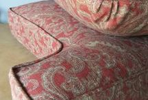 Barb's Paisley Slipcover / This paisley linen/rayon fabric worked beautifully in custom slipcovers for a classic armchair and ottoman. Fabric: Mariel Cliffside by Raymond Waites Design for Mill Creek.