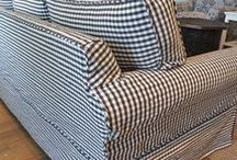 Cynthia's Gingham Slipcovers / You can't go wrong with a classic like this Chester gingham in charcoal for sofa slipcovers and dining chair seat pads.