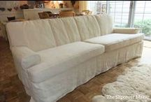 Jenica's Hemp Slipcovers / Rustic and gorgeous Hemp French Linen did wonders in giving these old chairs and sofa a casual-chic look.