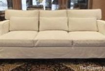 Susan's Natural Denim Slipcovers / Natural denim custom slipcovers give these old sofas a brand new look. Durable, washable and dog-friendly, too!