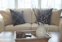 Jennifer's Natural Denim Slipcovers / Worn, faded upholstery and outdated design are no reasons to throw out comfortable, well-made furniture! I gave these old pieces an instant update with custom slipcovers in 12 oz. natural denim from Big Duck Canvas.