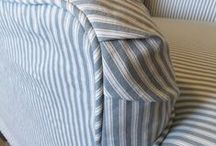 Molly's Ticking Stripe Slipcover / This old Drexel armchair got a charming update with a custom made ticking stripe slipcover. Who knew there was such a cute chair under that ugly, heavy upholstery! Printed stripe cotton by Magnolia Home Fashions.