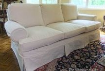 Barb's Natural Denim Sofa Slipcover / A custom-made slipcover in washable natural denim gave this formal Sherrill sofa a contemporary update.