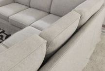 Debbie's Linen Sectional Slipcover / A sectional sofa transformed with a custom slipcover! The look is casual farmhouse style. The fabric is Upholstery Linen, a linen and cotton blend in color Oatmeal from Gray Line Linen.