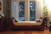 Vanessa's Matelasse Sleigh Bed Covers / This charming sleigh daybed looks like a million bucks with new cushion and bolster slipcovers in cotton matelasse.