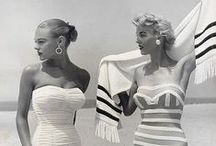 Spring/Summer Vintage Fashion / Vintage girls with beautiful spring and summer retro clothing - moodboard