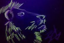 BlackPaper at Night... / drawing on black paper with black light..