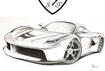 ferrari / disegni realizzati da me sui modelli Ferrari e photo d'autore sulle auto di Maranello