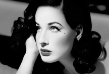 Ms Van Teese / Who better than to get all our saucy inspo then the queen of seduction herself, burlesque dancer Dita Van Teese... We love her enviable curves, slick side parting, retro curls and that killer red lip!