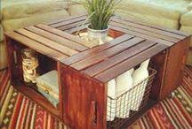 cajas de frutas, palets y madera / Con madera