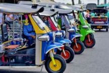 Tuk Tuk's, Songthaew's, Buses, Motor Bikes, Mopeds and cars in Thailand / Tuk Tuk's, Songthaew's, Buses, Motor Bikes, Mopeds and cars in Thailand. Tickets for tours and activities available at Island Info, inside Ark Bar Beach Resort  Island Info Samui http://islandinfokohsamui.com/ / by Island Info Samui