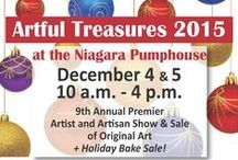 Artful Treasures 2015 / 9th annual Artful Treasures, artist & artisan show & sale of original art at Niagara Pumphouse Arts Centre. December 4 & 5, 2015 The best place to find holiday gifts for those who appreciate unique and beautiful objects crafted by Niagara region artists. Decorative Glass, Handbags, Hats, Jewellery, Painting, Wooden Objects and more!  In coordination with the Rotary Club Holiday House Tour.