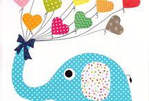 Baby decor / Ilustrações pertinentes à decoração de quartos infantis.