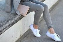 Women's sneaker styling / Women's wear inspiration on how to style with sneakers.