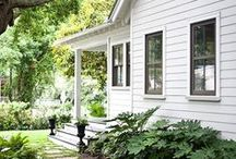 FARMHOUSE FACADE / Home exteriors, farmhouse, white, homes, houses, architecture, curb appeal