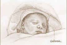 Babyportretjes / 48 uurs baby portret tekening, voor een persoonlijk geboortekaartje!