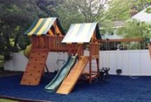 Rubber Playground Mulch / Rubber playground mulch is the safest, longest lasting surfacing for swing sets and landscapes of all kinds. This product comes in a variety of colors. / by Best in Backyards