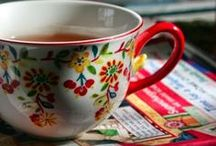 Cups of tea, glass and others