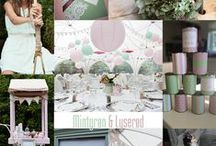 Wedding colour theme: Mint green and light pink / Mintgreen and pink wedding colour theme for romantic Vintage Carnival Wedding