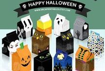 Halloween Printables / These spooky Halloween theme party favor boxes are great for gift to your family and friends. Easy to make! Just print, fold, glue and fill it with candies, cookies, chocolates or any surprises you want to give!