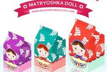 Matryoshka Nesting Dolls Milk Carton / DIY gift boxes collections - available for immediate download on www.micaprintables.etsy.com