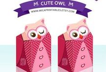 Owl Party Printables - Favor Boxes / Owl Favor Box Design - Find all the adorable milk carton designs only on www.MicaPrintables.Etsy.com Check them out!! - Great for gift to the special one! Ready to download and print.