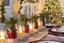 Christmas Cheer / Christmas, traditional, rustic, vintage, homely, logs, fireplace, candles, holly, fir, old fashioned charm and very British.