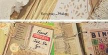 * Junk Journals/Altered Books / Junk journals, altered books, paper crafts, scraps, scrapbook paper, ephemera, embellishments, junque, lace, stitching, handcrafted, notebooks, sewing, rings, cover