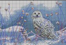 Cross stitch - owls