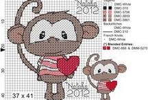 Cross stitch - monkeys