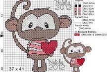 Cross stitch - monkeys