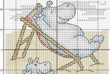 Cross stitch - hippos